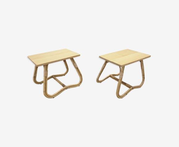 Paire de tables de chevet en rotin hollandais