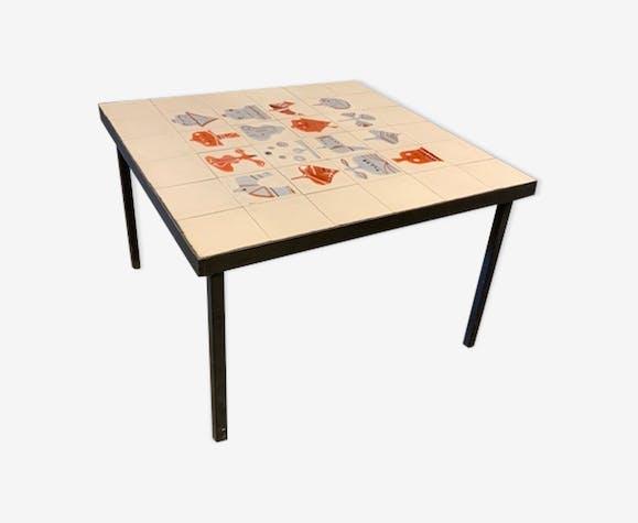 Table Basse De Roger Capron Céramique Porcelaine Et