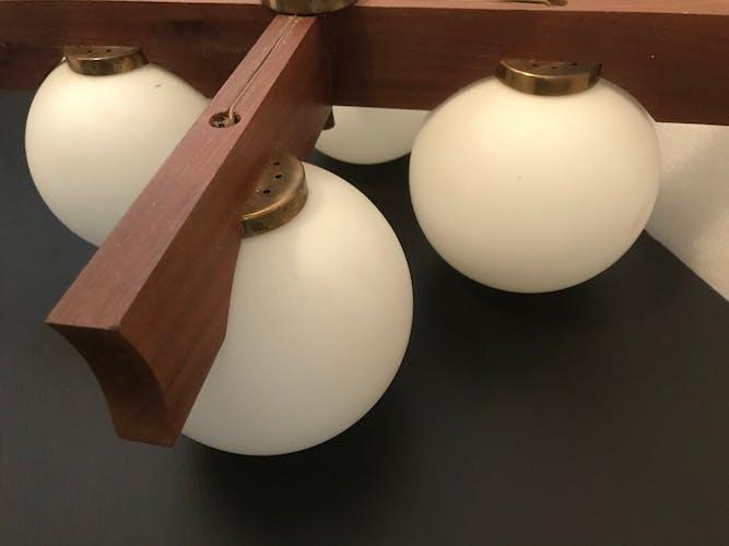 Lustre scandinave bois et 4 globes verre