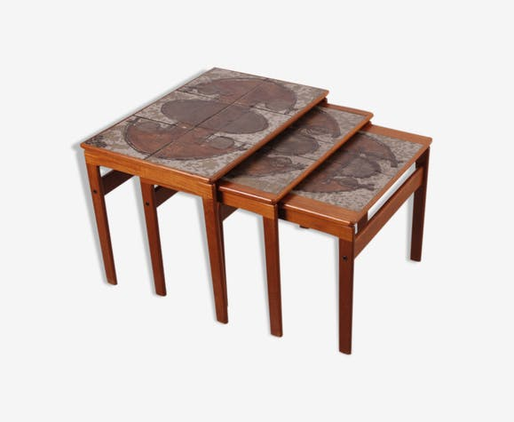 Vintage Danish Ox Art Teak Nesting Tables by Trioh, 1976