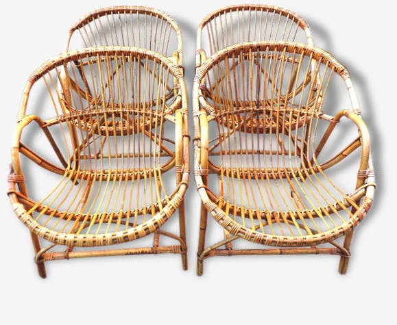 fauteuil rotin bambou vintage forme bacquet 1960 - Fauteuil Bambou
