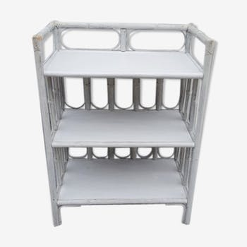 Meuble de rangement 3 étagères rotin blanc shabby