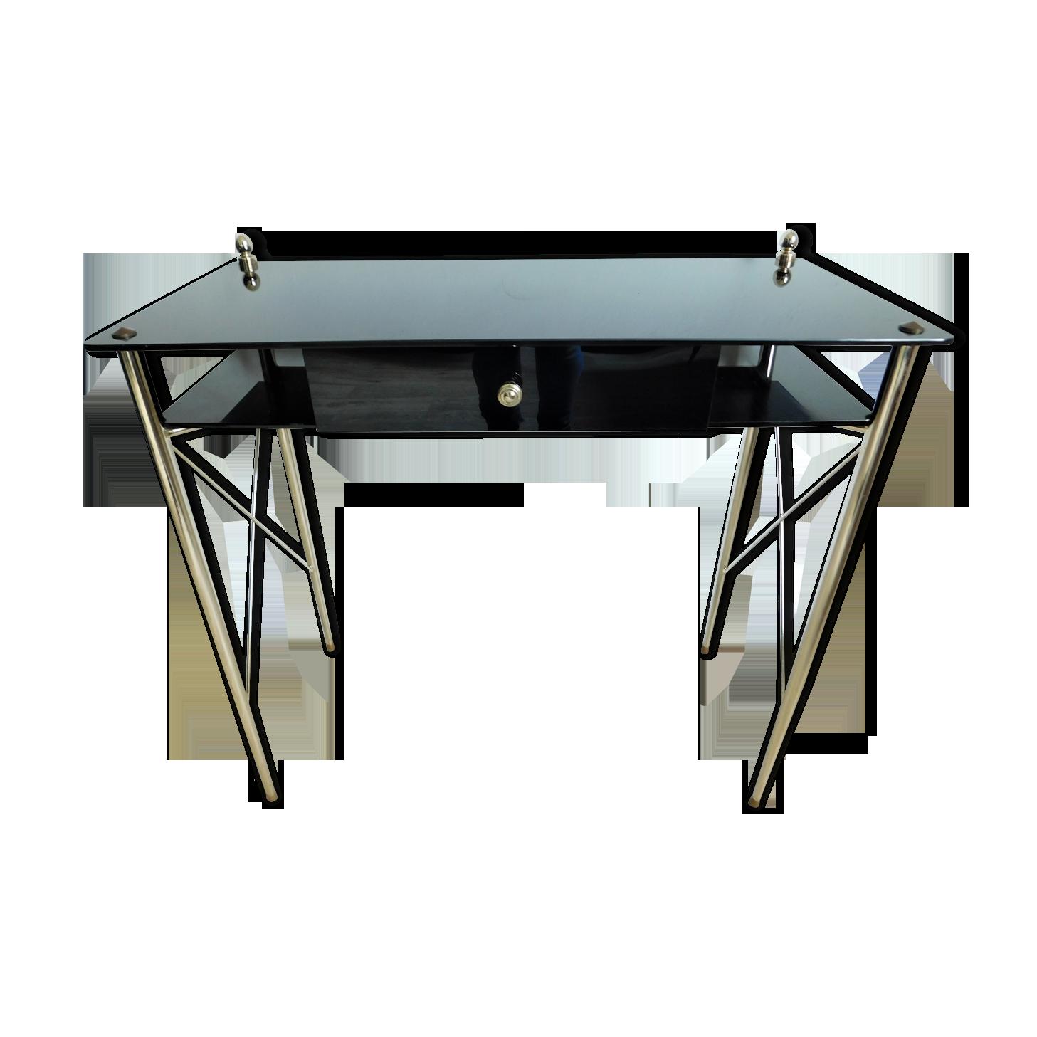 Bureau ou console vintage en verre noir verre et cristal noir