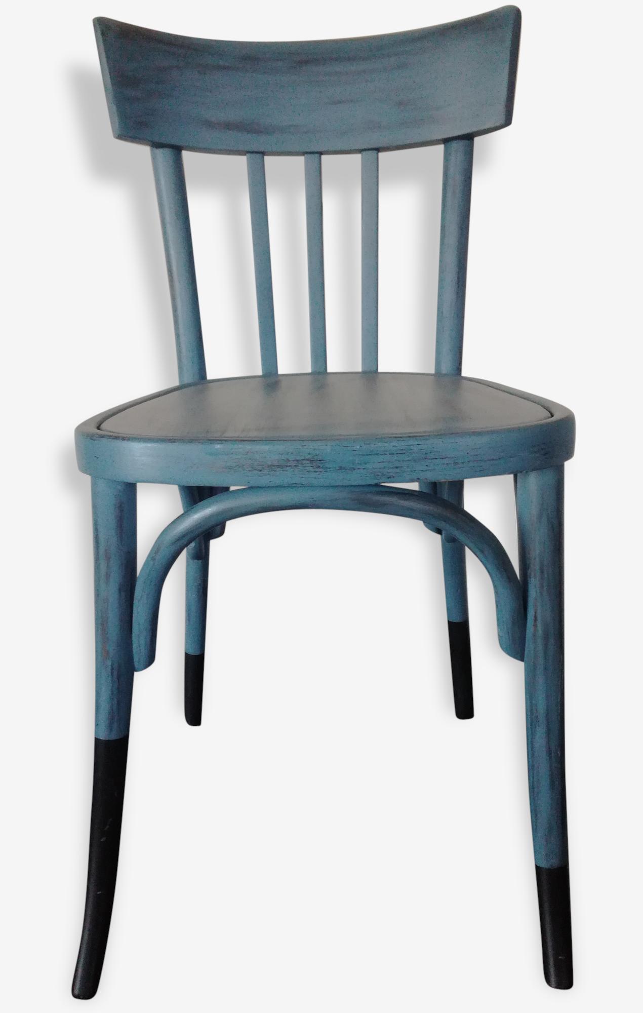Chaise Bistrot Bleue Et Noire Bois Matériau Bleu Vintage