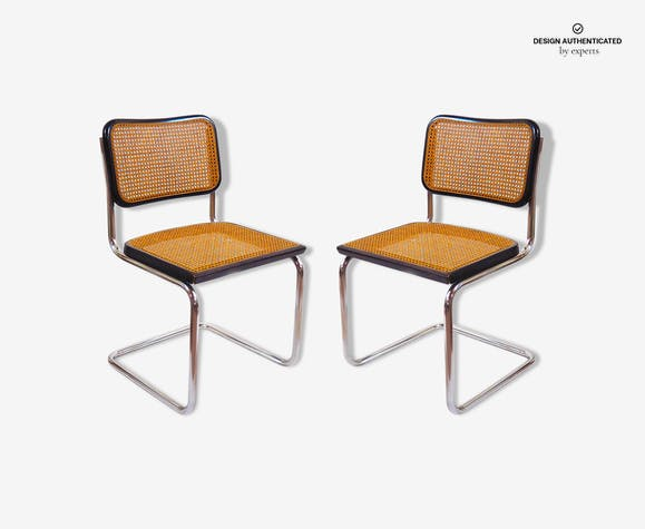 Pair of cesca B32 black Marcel Breuer chairs