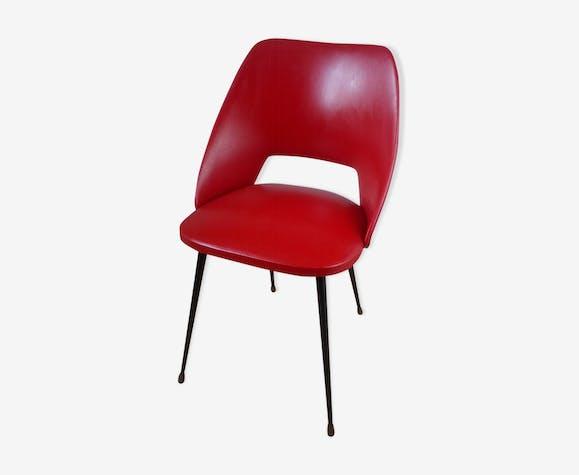 Chaise tonneau en Skaï rouge années 50