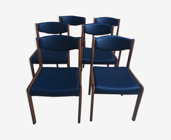 Série de 6 chaises teck simili cuir