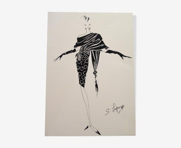 Illustration de mode de presse vintage par Serge Lepage années 80 .