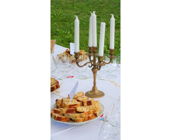 Chandelier laiton 5 bougies cierges deux branches
