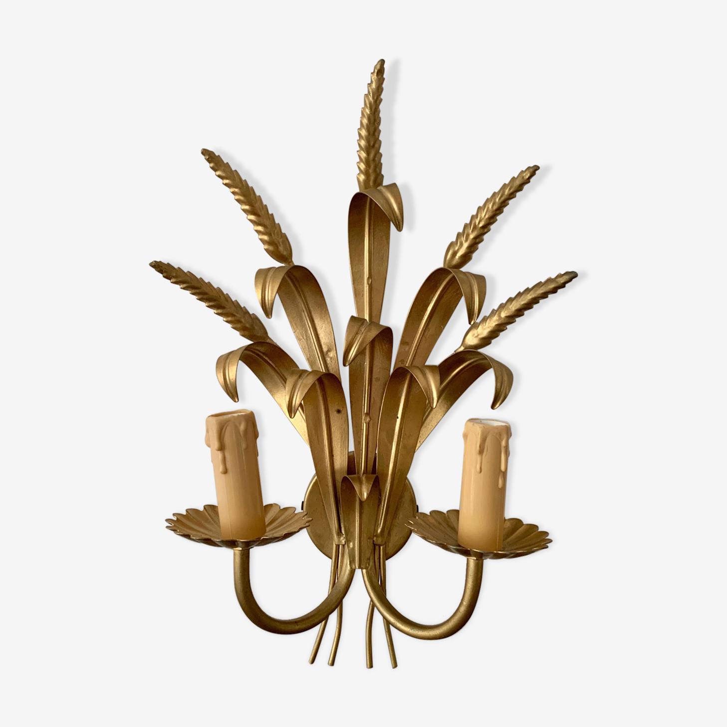 Applique deux lampes épi de blé acier doré