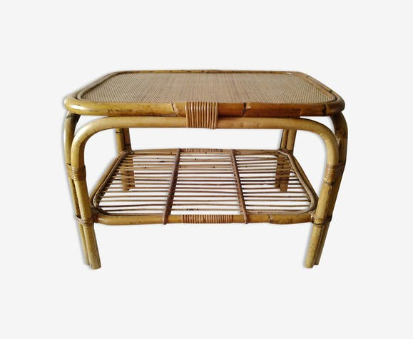 En Et Vintage Bambou Bois Rotin Basse Osier Table PuTZOkXi