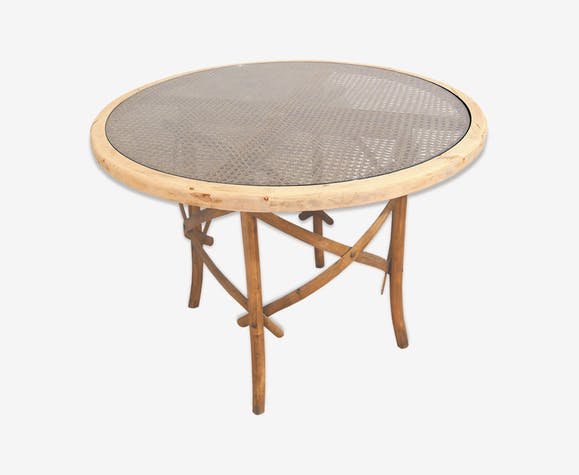 Table Ronde Bois Cannage Selency