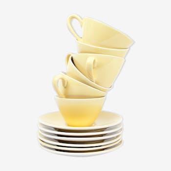 Lot de 6 tasses jaunes Faïencerie Badonviller