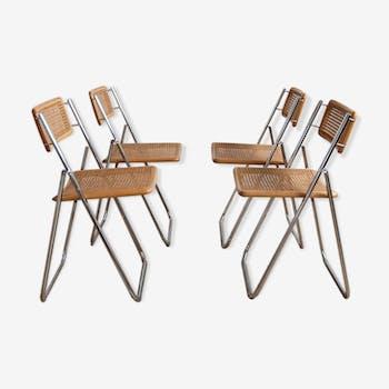 Ensemble de 4 chaises pliantes cannage et chrome