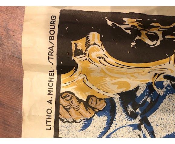 Original lithographic poster René KUDER 1939 Alsace Art Deco