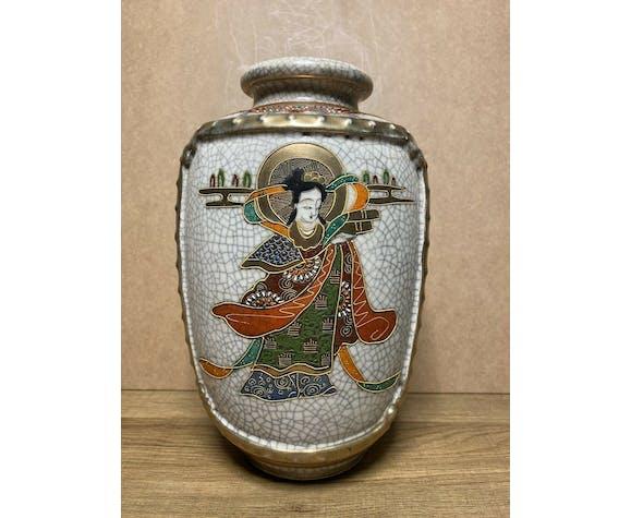 Ancien vase satsuma porcelaine japonaise, signature, années 30/40