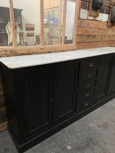 Ancien meuble de métier dessus marbre