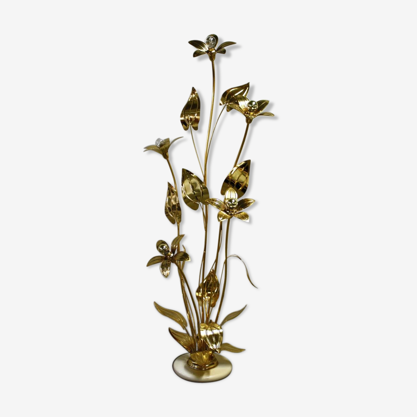 Lampadaire fleur regency vintage en laiton 1970s