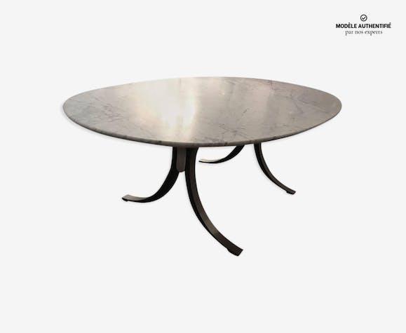 Table de salle manger osvaldo borsani avec plateau original en marbre de cararre tecno 1960 - Table salle a manger plateau marbre ...