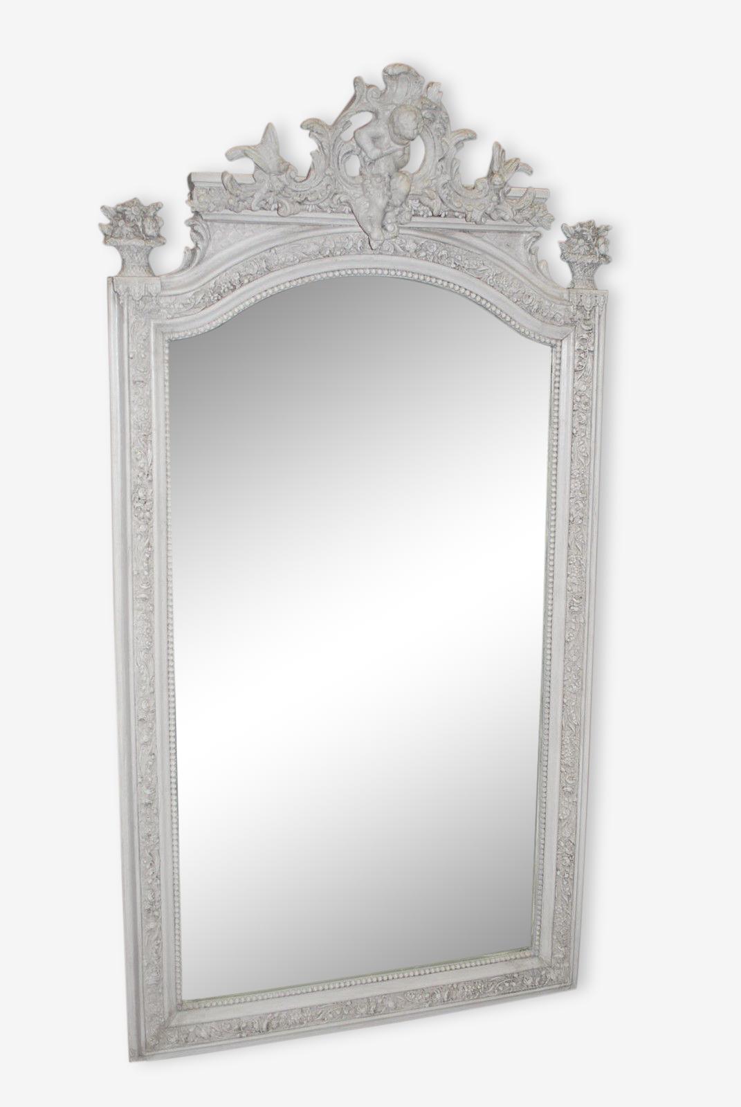 Miroir style LOUIS XVI patiné gris