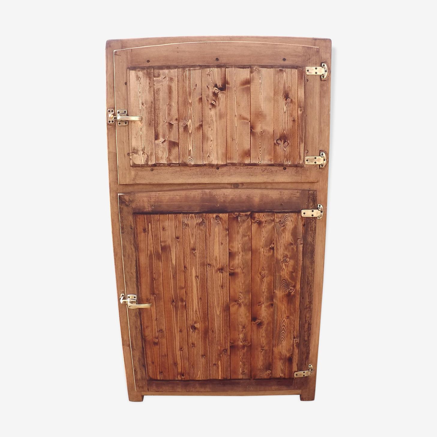 Buffet ancien frigo bois 2 portes