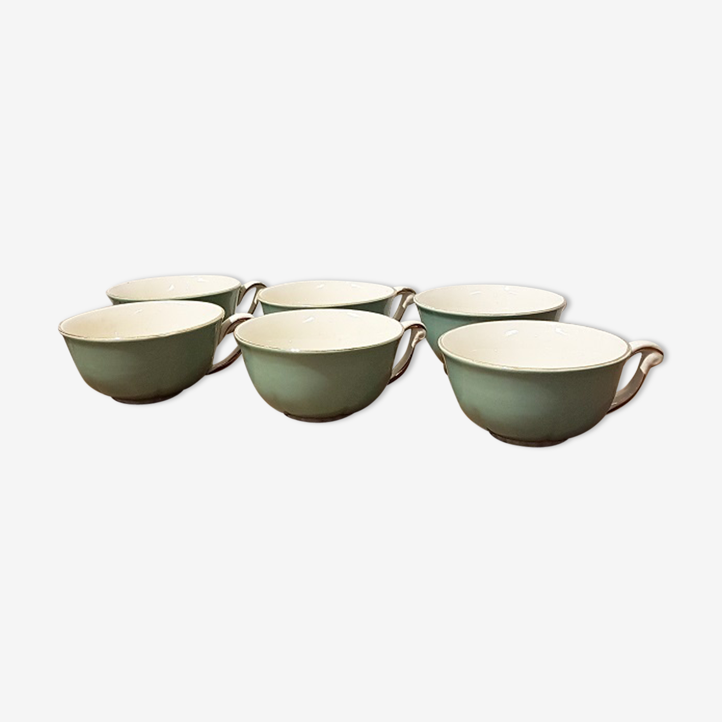 Set of 6 green pastel cups