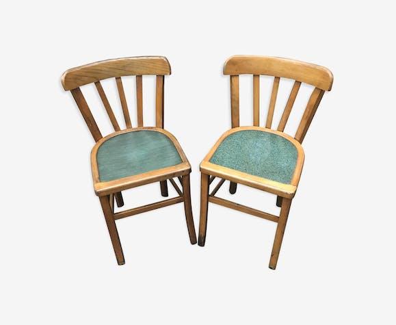 S rie de 2 chaises anciennes bistrot style baumann en bois brut ann es 70 vintage bois - Style chaises anciennes ...