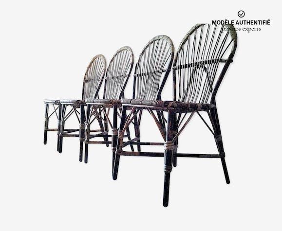Suite de quatre chaises en rotin d'Adrien Audoux et Frida Minnet 1950