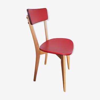 Chaise skaï rouge vintage années 50