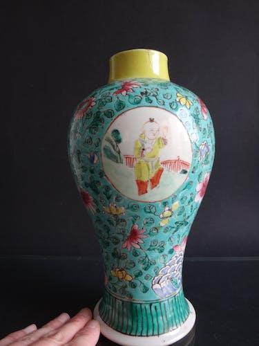 Ancien vase balustre chinois porcelaine enfants Chine 25cm XIXème