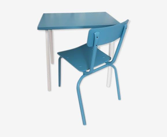 Bureau d'école bleu et blanc et sa chaise Mulca