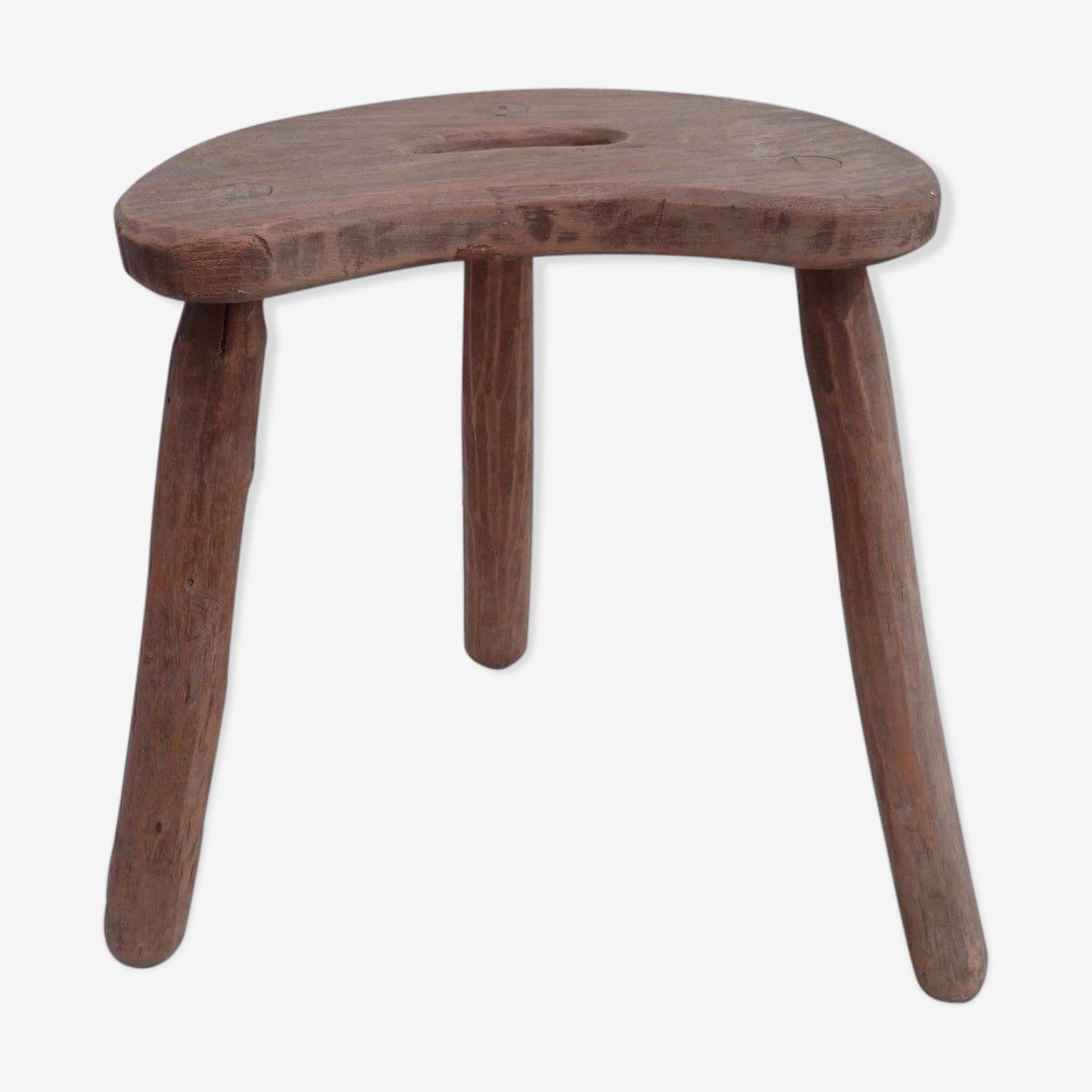 Ancien tabouret tripode en bois