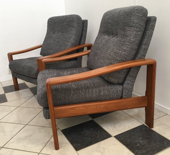 Pair of grey relax chairs from Denmark 1960s