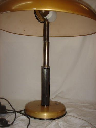 Lampe champignon bronze et métal doré, 1970