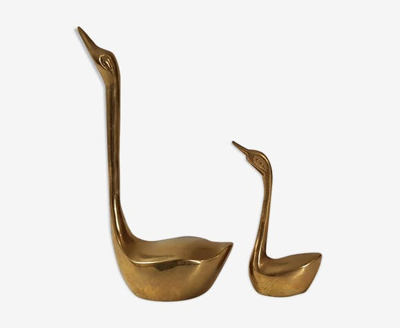 Set of 2 brass swans, 1970