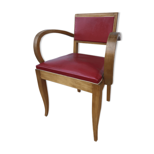 ancien fauteuil bridge style scandinave en bois et cuir rouge bois mat riau rouge. Black Bedroom Furniture Sets. Home Design Ideas