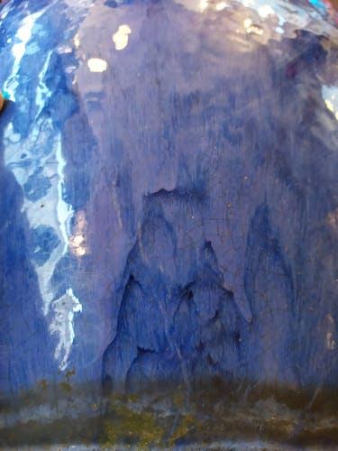 Cache pot bleu céramique 1930