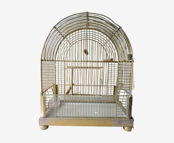 Cage à oiseaux en métal doré des années 60
