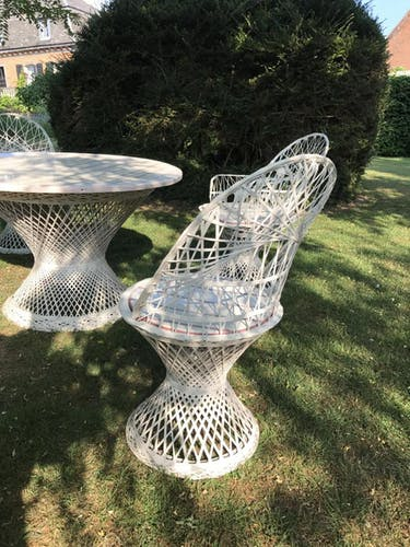 all of garden with three chairs a table and two chairs 80s