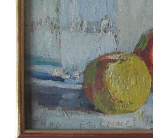 Tableau - nature morte - Francis-Paul Etienne  - années 50-60 - déco cuisine - cadre doré