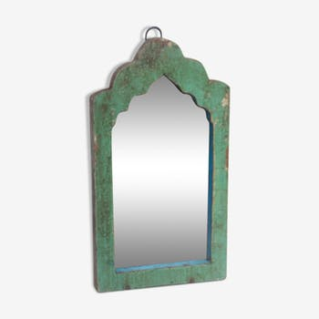 Miroir patine vert teck
