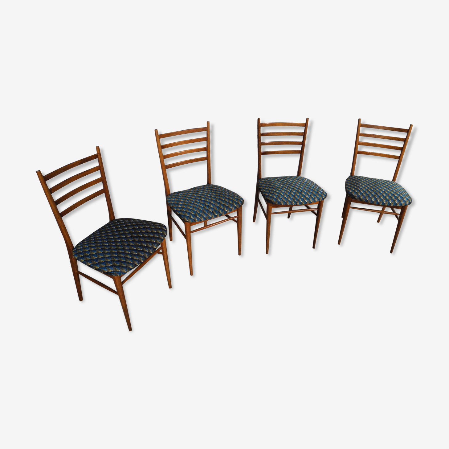 Lot de 4 chaises retapissé à motif années 1950-1960