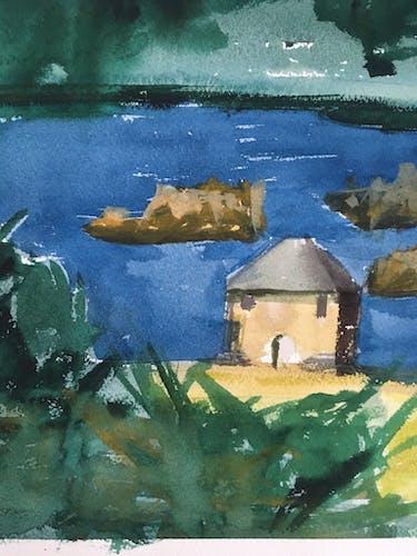 Le Moulin du Birlot, ile de Bréhat, aquarelle