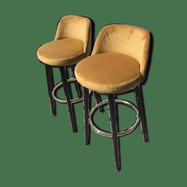 Paire de tabourets de bar en velours jaune - bois (Matériau) - jaune - bon  état - vintage - a1O9D1O