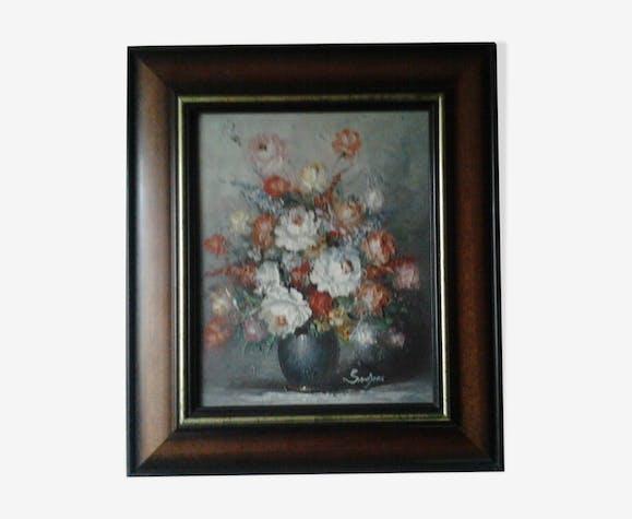 Tableau peinture a l'huile  sur toile , cadre bois