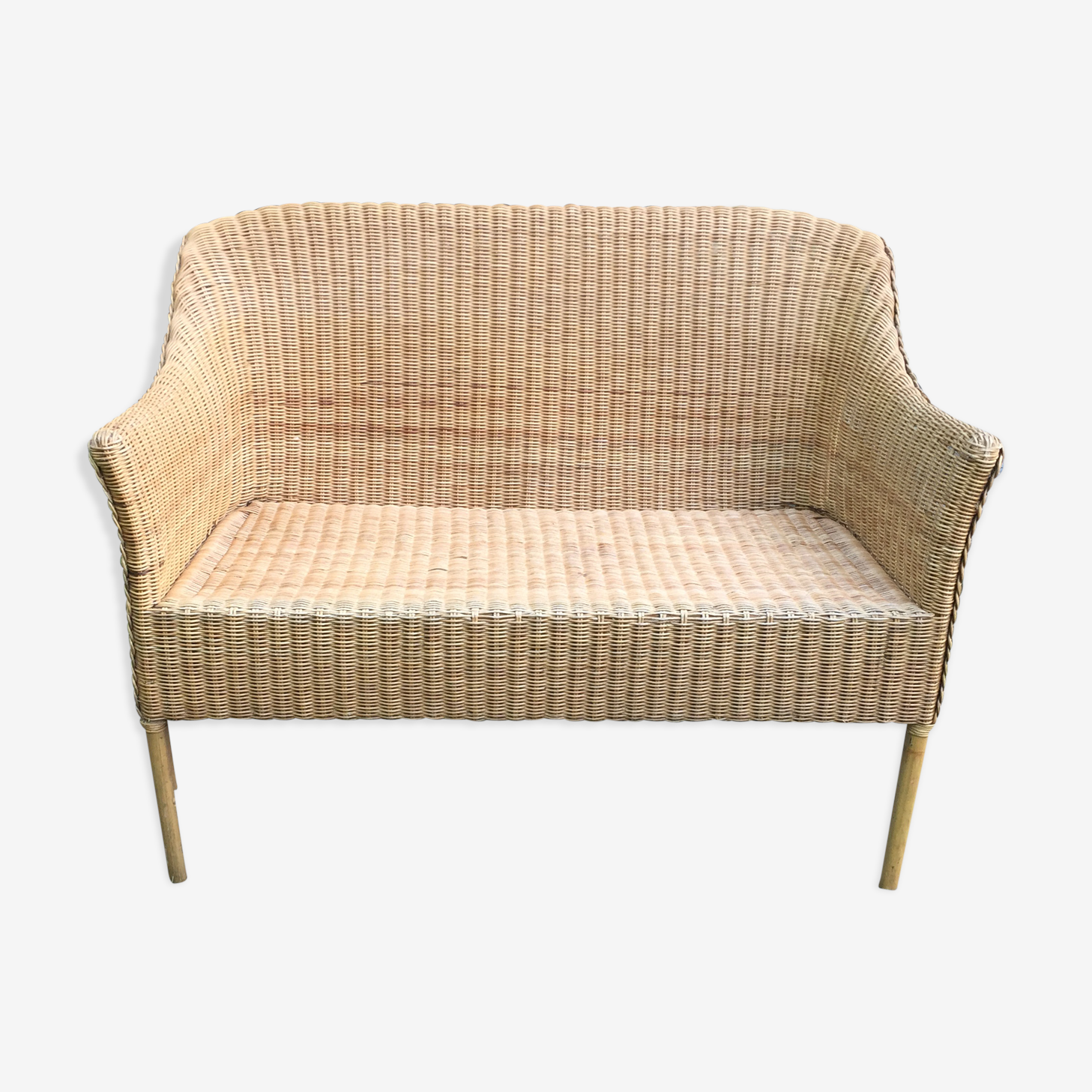 Vintage adult bamboo, rattan & wicker bench