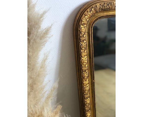 Miroir louis Philippe perlé doré cadre sculpté 48x62cm