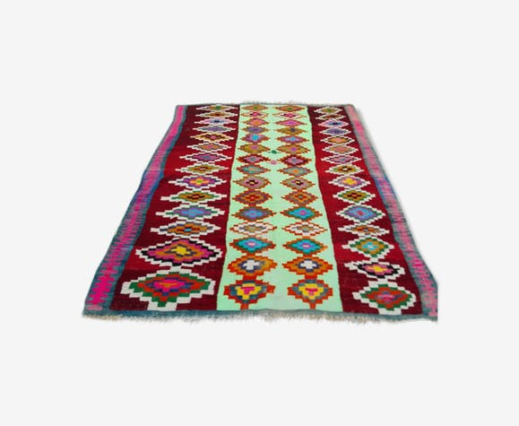 tapis kilim marocain berb re en laine rouge fait main 155x210cm laine coton rouge thnique. Black Bedroom Furniture Sets. Home Design Ideas