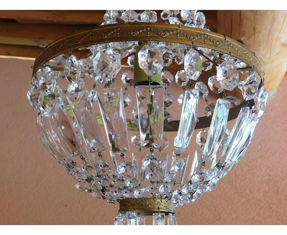Lustre montgolfière ø 30 cm pampilles cristal 1 feux