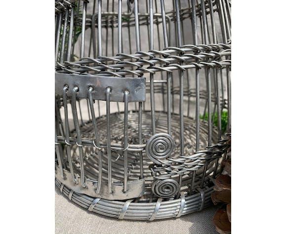 Cage vintage fait mains en acier